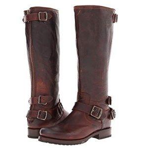 Frye 9.5 Veronica Back Zip leather boots
